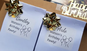 Personalised Labels for Party Bags