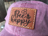BEE Happy Leather Patch 'Dad' hat