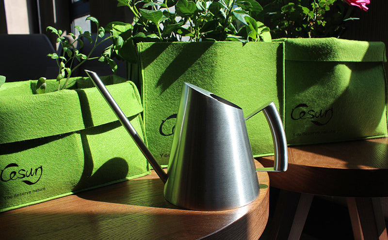silver watering can with grow bags