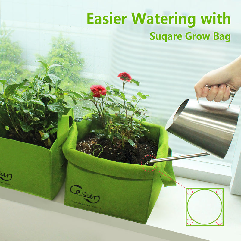 Cesun Tech Air Pruning Square Grow Planter Bags (Set of 3)