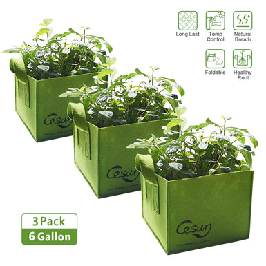 Cesun Tech Air Pruning Square Grow Planter Bags (Set of 3) 6 Gallons
