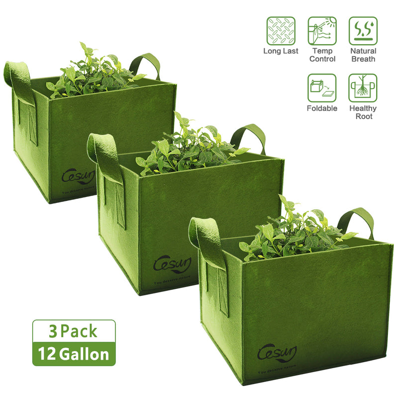 Cesun Tech Air Pruning Square Grow Planter Bags (Set of 3) 12 Gallons