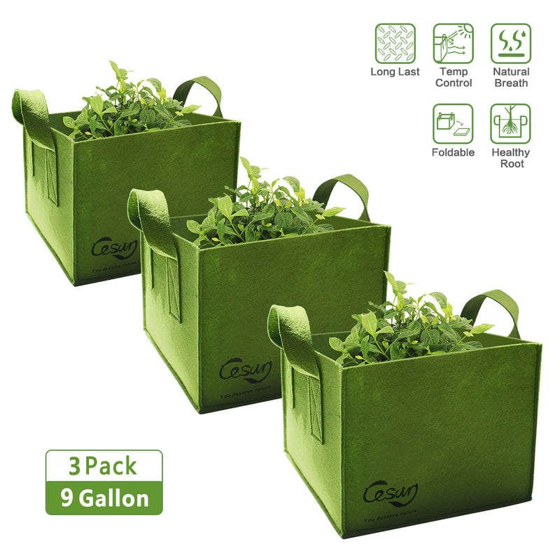 Cesun Tech Air Pruning Square Grow Planter Bags (Set of 3) 9 Gallons