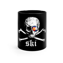 Load image into Gallery viewer, Colorado Ski Pirate Black mug 11oz
