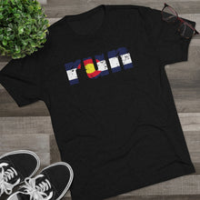 Load image into Gallery viewer, Men's Run Colorado Flag Tri-Blend Crew Tee