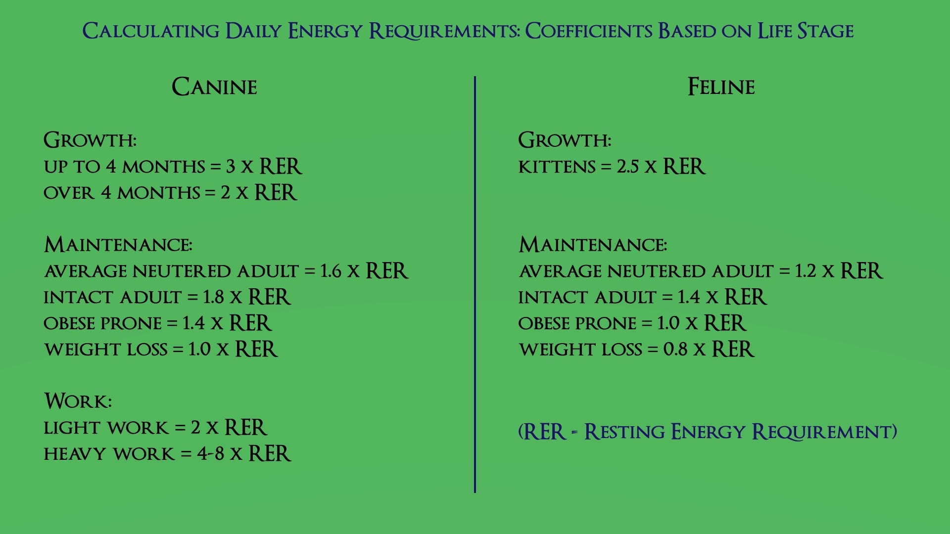 Daily Energy Requirements caluclator for raw feeding pets