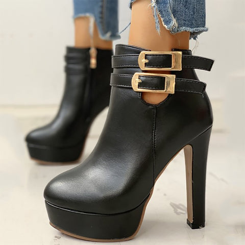 Women's Fashion Belt Buckle High Heel Booties