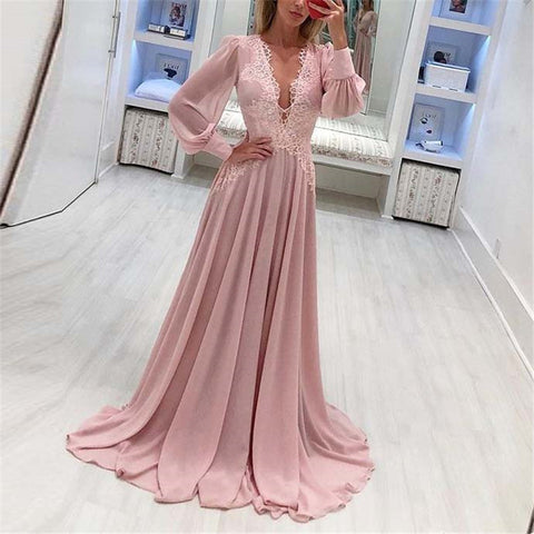 Sexy Deep V-neck Chiffon Long Sleeve Dress