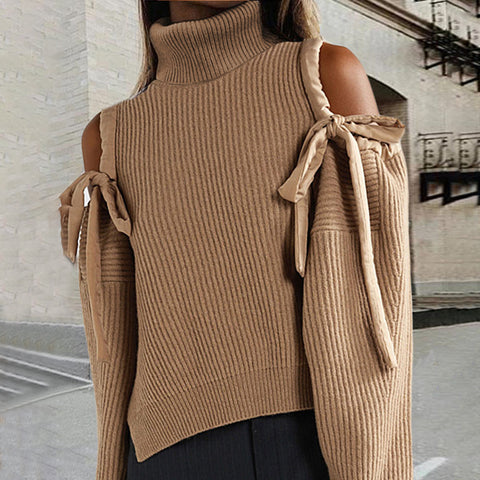 Casual Pure Color Belted High Collar Off-shoulder Sweater