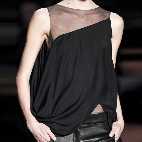 Womens Asymmetric Panel Vest