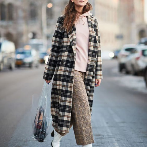 British Style Check Double-Breasted Long Coat