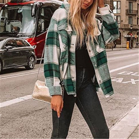 Ladies Fashion Everyday Plaid Green Jacket