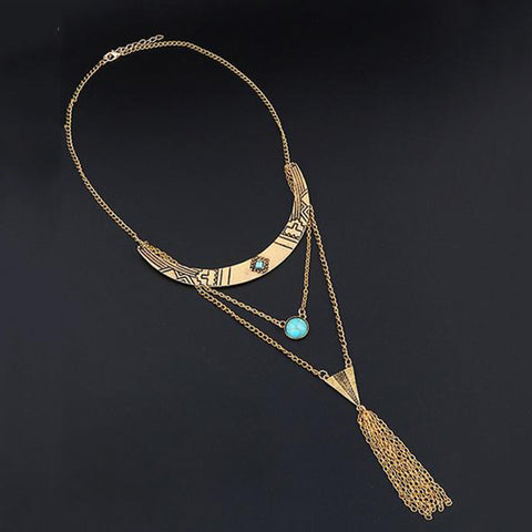 Faux Turquoise Layered Necklace