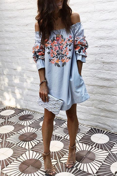 Off Shoulder Floral Printed Bell Sleeve Mini Vacation dress