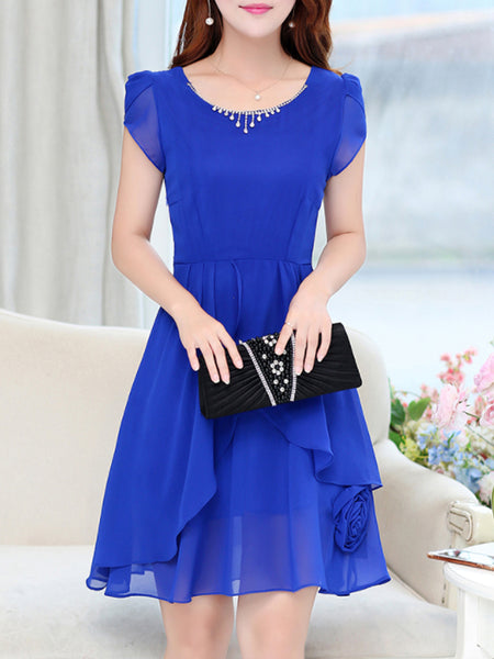 Round Neck Plain Chiffon Petal Sleeve Skater Dress