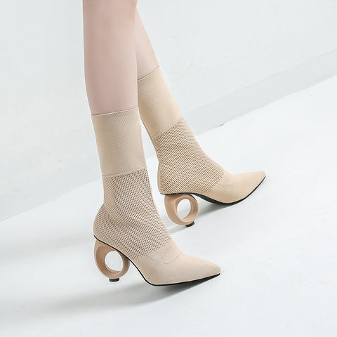 Fashion Pointed   Toes High-Heeled Boots