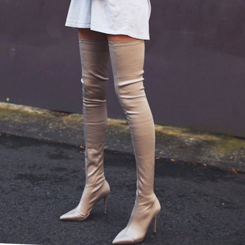 Sexy Stretch Pointed   Stiletto Boots