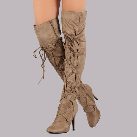 Plain Stiletto High Heeled Velvet Point Toe Date Outdoor Thigh High High Heels Boots
