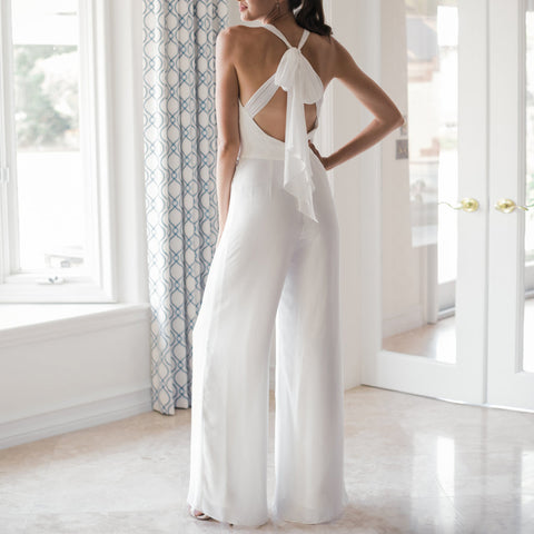 Commuting V Neck Pure Colour Bare Back Off-Shoulder Jumpsuit