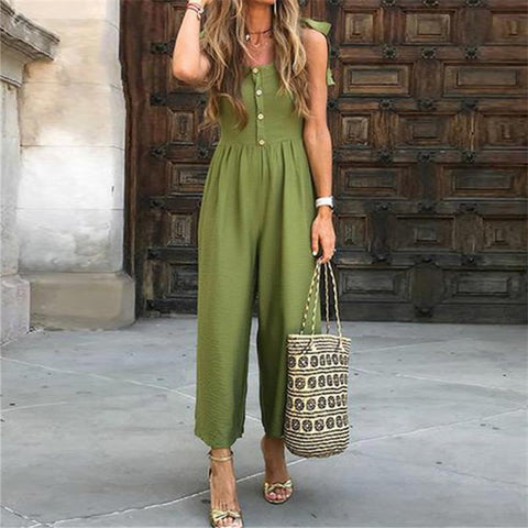 Fashion Suspension Button Holiday Casual Jumpsuits