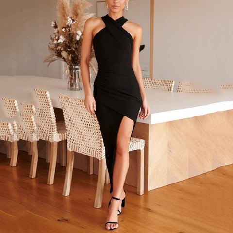 Halter-Style Sexy Shoulderless Slim Split Dress(Video)