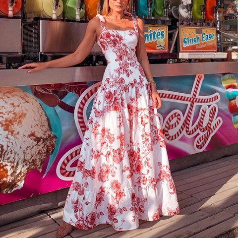 Vacation Floral Print Splicing Spaghetti Strap Maxi Dress