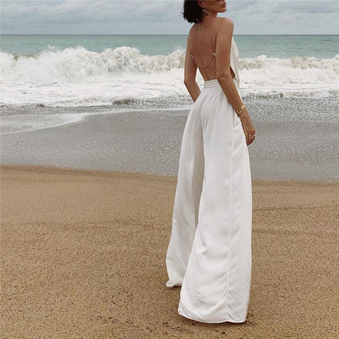 Vacation Casual Solid Color Backless Spaghetti Strap Wide Leg Jumpsuits