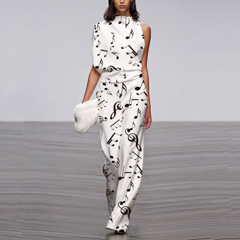 Commuting Asymmetry Sleeve Printing Jumpsuit