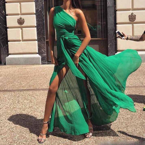 Fashion One Shoulder Chiffon Maxi Dress