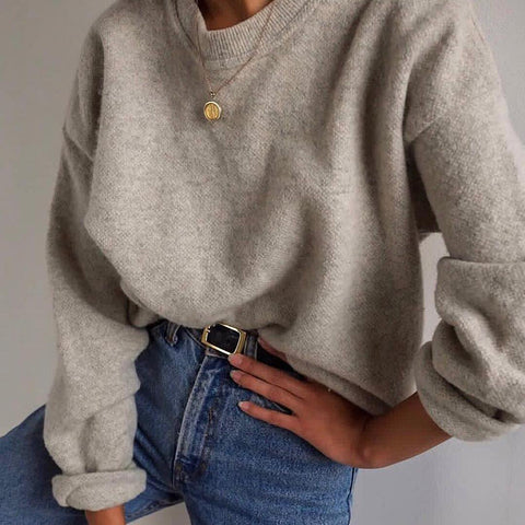 Women's Fashion Shoulder Sleeve Round Neck Loose Sweater