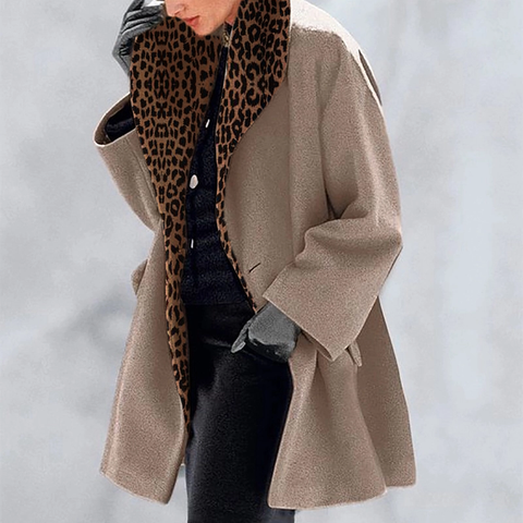 New Warm Leopard Fashion Multi-Color Shawl Collar Coat