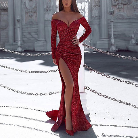 Sexy One-shouldered Long-sleeved High-slit Slim Fishtail Evening Dress