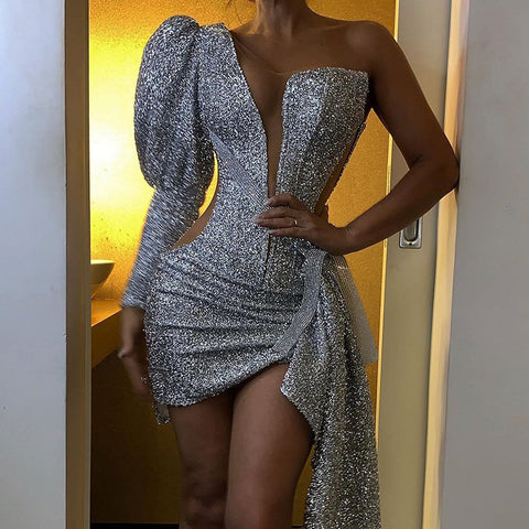 Fashion one-shoulder silver perspective lamb leg sleeve irregular dress