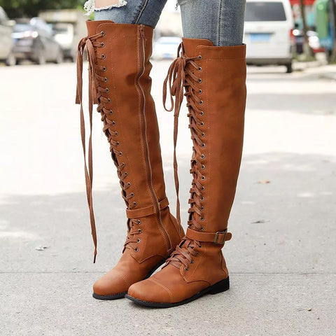 Women's fashion solid color tie over knee boots