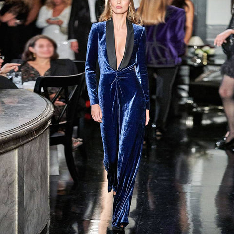 sexy elegant deep v long sleeves blue ankle-length jumpsuit