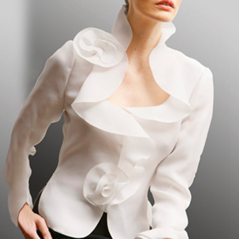 Fashion Irregular Ruffled Long Sleeve Shirt