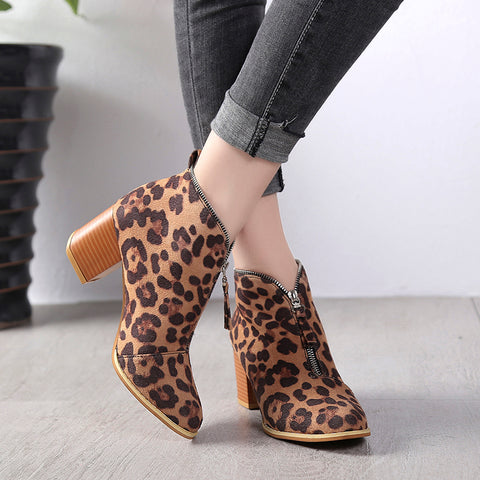 Fashion Leopard Print And Zipper Pure Colour Boots