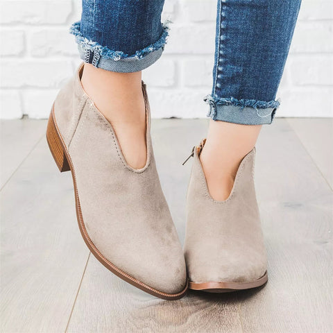 Plain Chunky Mid Heeled Point Toe Casual Date Travel Ankle Boots