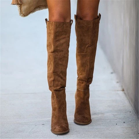 Women's fashion solid color pointed long boots
