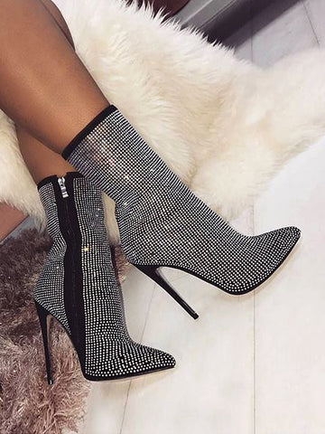 New women's boots large size pointed rhinestone fine super high heel boots