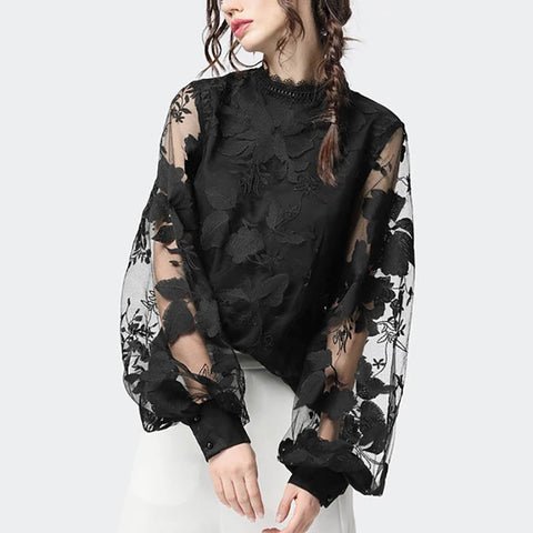 Lace Puff Sleeve Transparent Round Neck Shirt