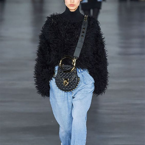 Fashion Solid Color Fuzzy Sweater
