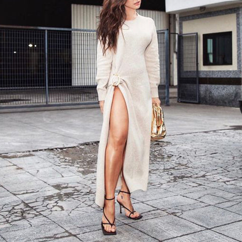 Casual Solid Color Round Neck Long Sleeve Split Dress