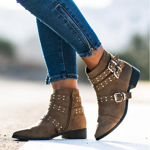Women's casual solid color rivet belt buckle pointed ankle boots