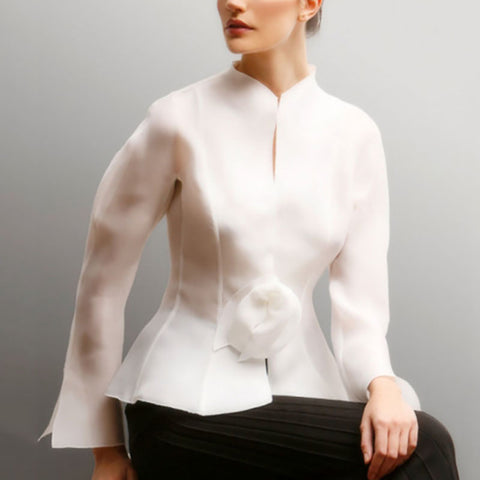 Casual Pure Color Band Collar Shirt