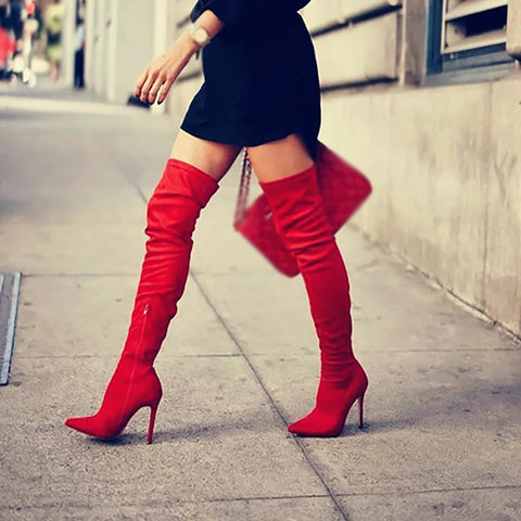 Women's fashion solid color stiletto boots