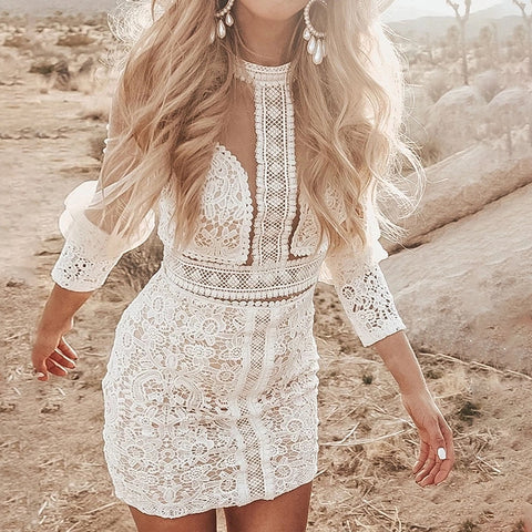 Pure color round collar hollowed out lace dress