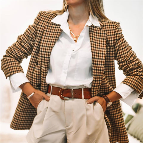 Women's Fashion Casual Plaid Blazer
