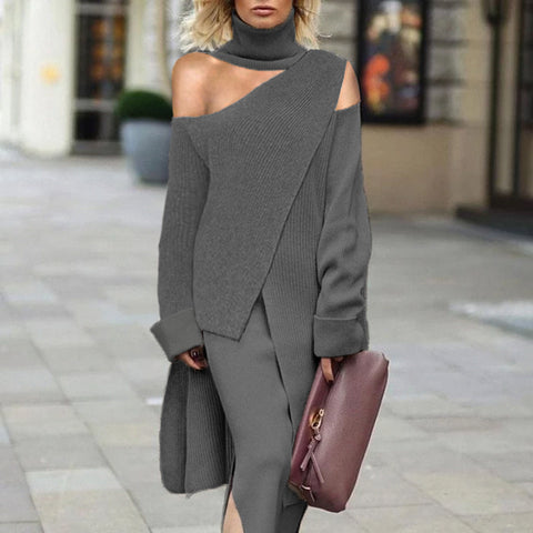 Women High Collar Off Shoulder Grey Asymmetric Hem Knitted Sweater