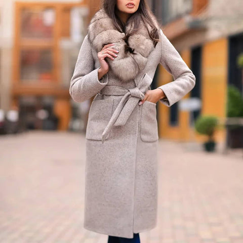 Temperament Slim with fur collar grey long woolen coat